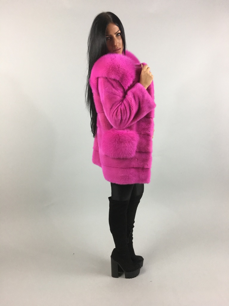 Pink Mink Fur coat With Fox  Collar side