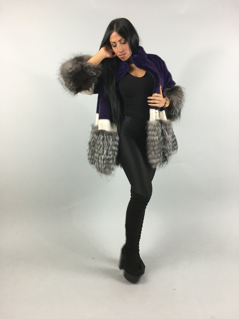 violet mink fur coat with silver fox fur and cuffs haute  couture