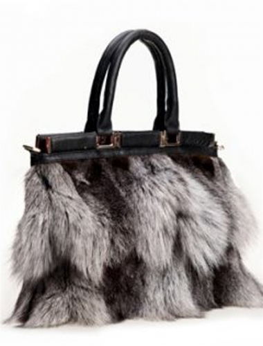 silver fox fur bag