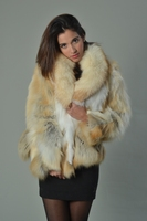golden fox fur coat half skins