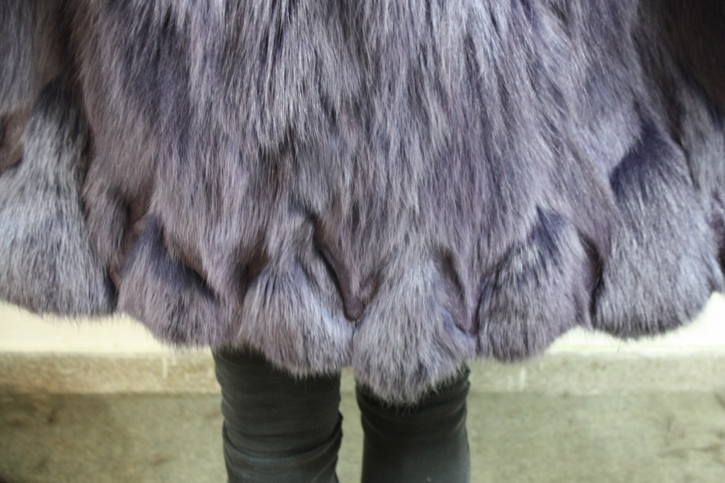 purple fox fur coat half skins