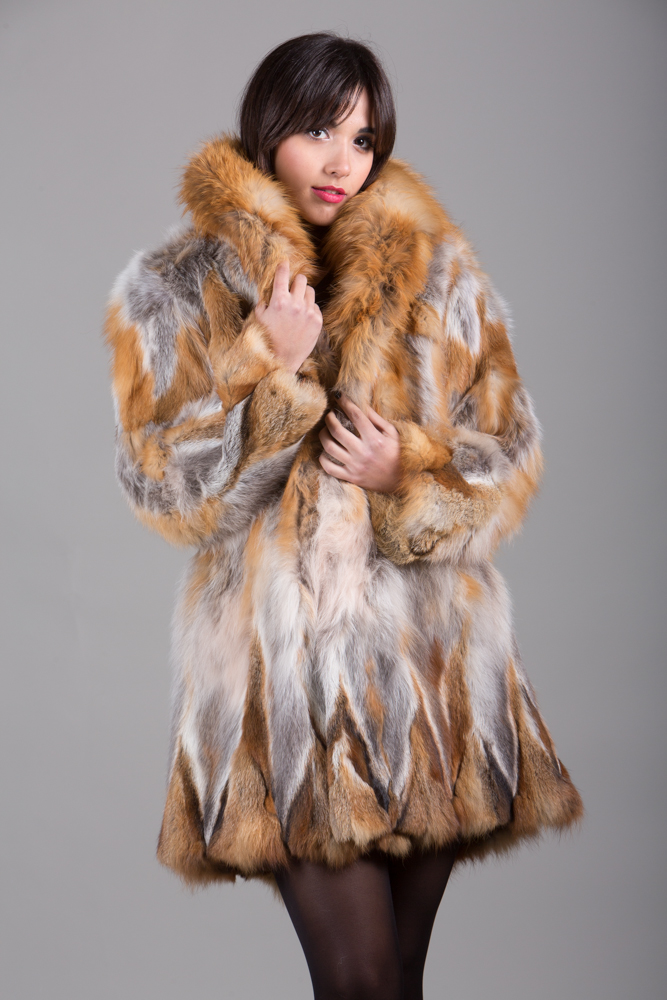 red fox fur coat half skins