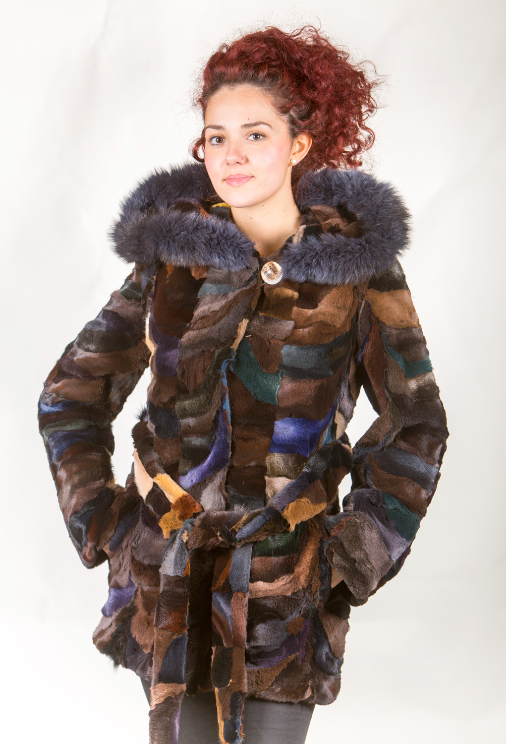 sheared fox fur multicolor coat