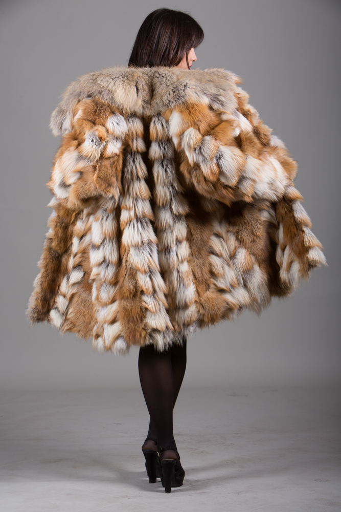 red fox fur heads coat